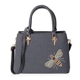Classic Black Embroidery Bee Design Tote Bag with Removable Shoulder Strap (Size 29x21x12.5 Cm)