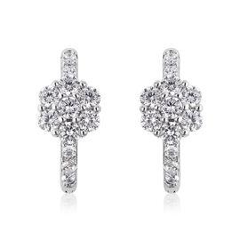 Lustro Stella Simulated Diamond (Rnd) Hoop Earrings in Rhodium Overlay Sterling Silver 1.28 Ct.