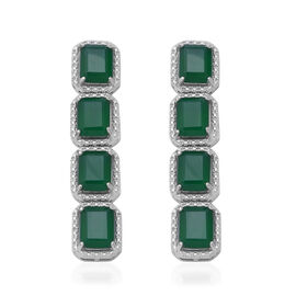 18.02 Ct Green Onyx Dangle Earrings with Push Back in Rhodium Plated Silver 8.34 grams