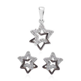 2 Piece Set Natural Cambodian Zircon (Rnd) Star Pendant and Earrings (with Push Back) in Platinum an