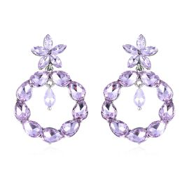 Simulated Kunzite Earrings (with Push Back) in Silver Tone
