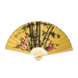 Brown and Yellow Bamboo Pattern Folding Fan (Size 160x90 Cm)