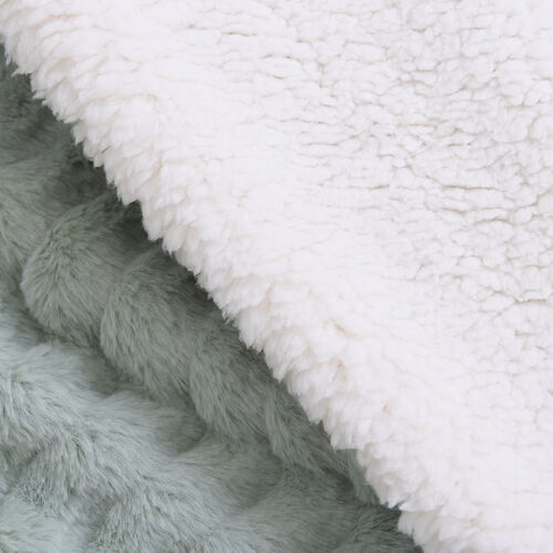 Embossed Wave Pattern Faux Fur Sherpa Blanket (150x200cm) - Paraiba Tourmaline Colour