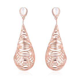 Isabella Liu Mother of Pearl and Zircon Drop Earrings in Rose Gold Plated Silver