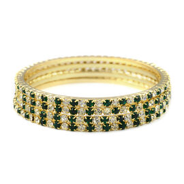 Designer Inspired- 4 Piece Set - Light Green and White Austrian Crystal Bangle (Size 7.5) in Gold To