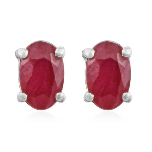 African Ruby Stud Earrings (with Push Back) in Platinum Plated Silver 0.50 Carat