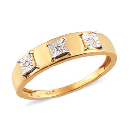 White Diamond Band Ring in Yellow Gold Overlay Sterling Silver