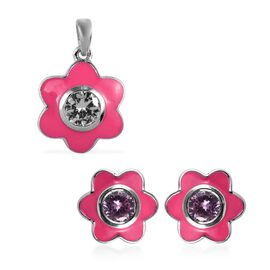 2 Piece Set - ELANZA Simulated Pink Sapphire (Rnd) Enamelled Floral Pendant and Stud Earrings (with