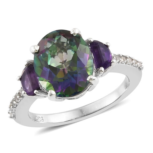 Mystic Green Topaz (Ovl 4.05 Ct), Amethyst and White Topaz Ring in Platinum Overlay Sterling Silver