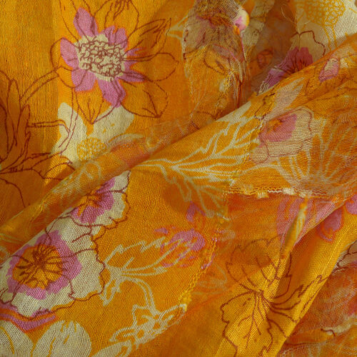 65% Silk Yellow, Light Purple and Multi Colour Artistic Floral Pattern Scarf with Fringes (Size 180x50 Cm)