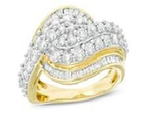 NY Close Out 10K Yellow Gold Diamond (I2-I3/G-H) Ring 2.00 Ct.