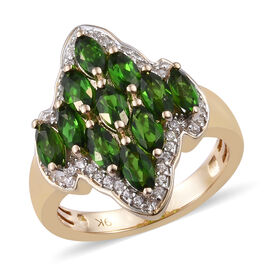 2.50 Carat Russian Diopside and Cambodian Zircon Cluster Ring in 9K Gold 2.6 Grams