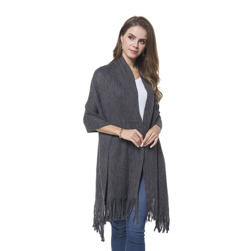 Italian Designer Inspired - Dark Grey Colour Stripes Pattern Knitted Scarf with Tassels (Size 180X65