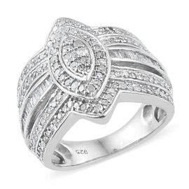 Diamond (Rnd) Ring in Platinum Overlay Sterling Silver 1.000 Ct, Silver wt 6.24 Gms, Number of Diamonds 164.