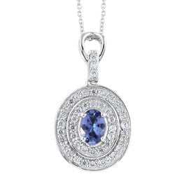 Tanzanite (Ovl), Natural Cambodian Zircon Pendant with Chain (Size 20) in Platinum Overlay Sterling Silver 1.500 Ct.