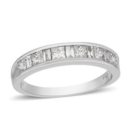 RHAPSODY 950 Platinum Certified Natural Diamond (VS/E-F) Half Eternity Band Ring 1.00 Ct, Platinum W