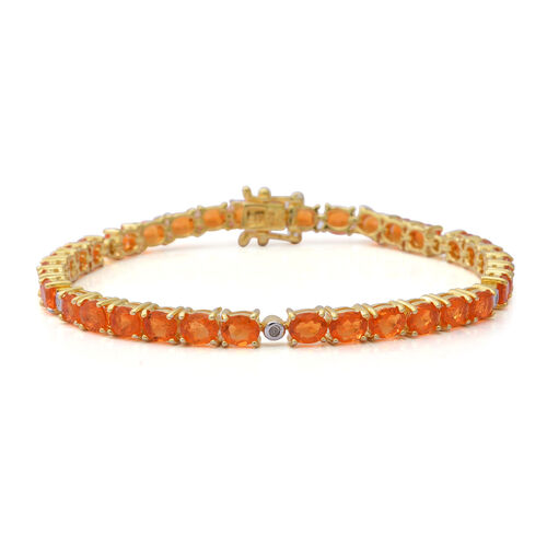 7.74 Ct Jalisco Fire Opal and Diamond Tennis Bracelet in Gold Plated Sterling Silver 7 Inch