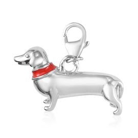 Platinum Overlay Sterling Silver Dog Charm