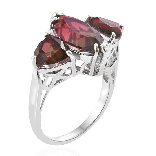 Finch Quartz (Mrq 14x7 mm) Trilogy Ring in Platinum Overlay Sterling Silver 6.250 Ct.