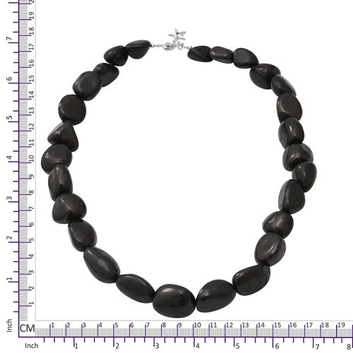 GP - Shungite, Blue Sapphire Necklace (Size 18) with Star Charm in Rhodium Overlay Sterling Silver 350.03 Ct.
