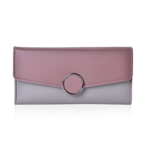 Designer Inspired - Purple and Grey Colour Ladies Purse with Multiple Card Slots and Metallic Circle at Front (Size 19X10X1 Cm)