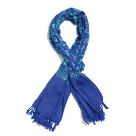 100% Merino Wool Dark and Light Blue Colour Paisley and Leaves Embroidered Shawl with Tassels (Size