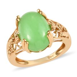 Green Jade (Ovl 14x10 mm) Solitaire Ring (Size V) in 14K Gold Overlay Sterling Silver 6.75 Ct.