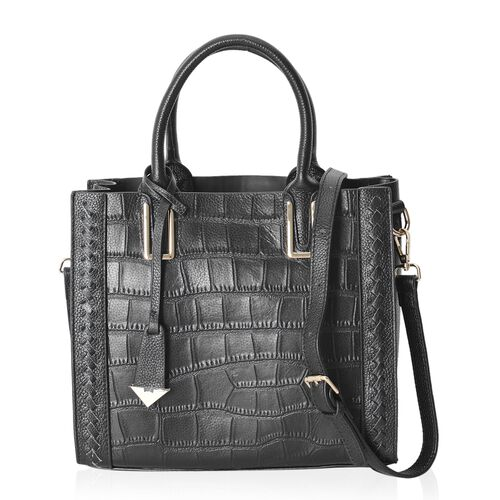 100% Genuine Leather Black Croc Embossed City Tote Handbag with Removable Strap 28x24.5x12 Cm