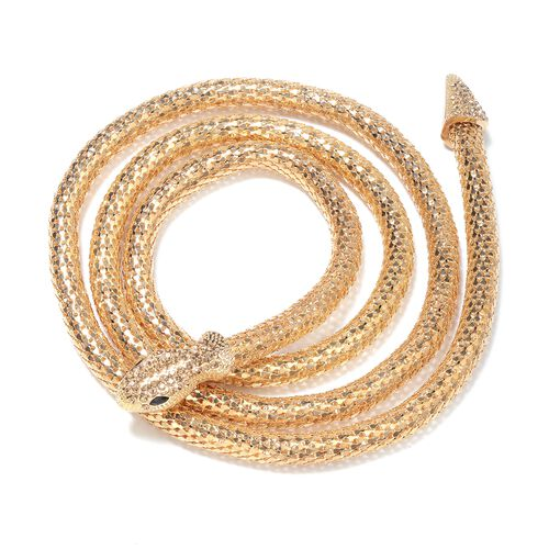 Champagne Austrian Crystal and Simulated Black Spinel Snake Necklace (Size 49) in Yellow Gold Plated