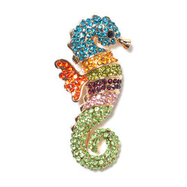 2-in-1 Multi Colour Austrian Crystal Sea-Horse Brooch or Pendant with Chain (Size 20) in Gold Tone