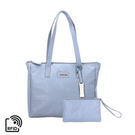 Union Code 100% Genuine Leather Blue Tote Bag and RFID Wristlet/Clutch Bag