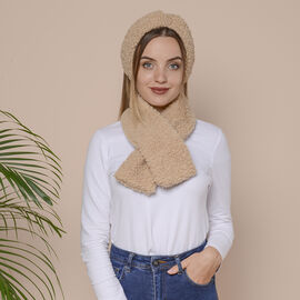 2 Piece Set - Faux Wool Scarf (Size 88x12cm) and Headband (Size 27x10cm) - Khaki