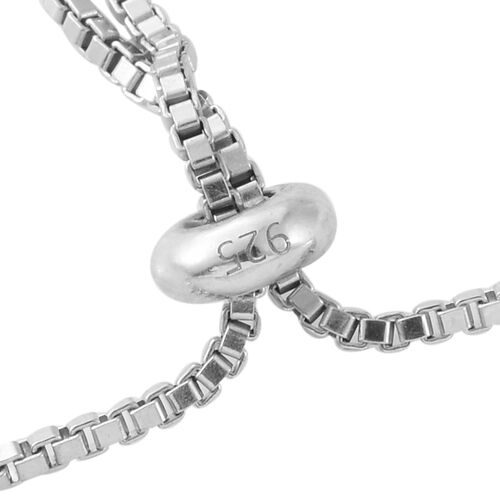 GP Blue Diamond (Rnd), Kanchanaburi Blue Sapphire Adjustable Bracelet (Size 6.5 to 8) in Platinum Overlay Sterling Silver 1.000 Ct. Silver wt 8.00 Gms.