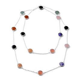 Close Out Deal- Rose Quartz, Jade, Black Agate, Cherry Quartz, Red Agate and Sodalite Station Neckla