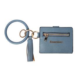 """""""Sencillez"""" Blue color Genuine Leather Key Chain 11.5x9cm, card solt-2, zipped-1"""