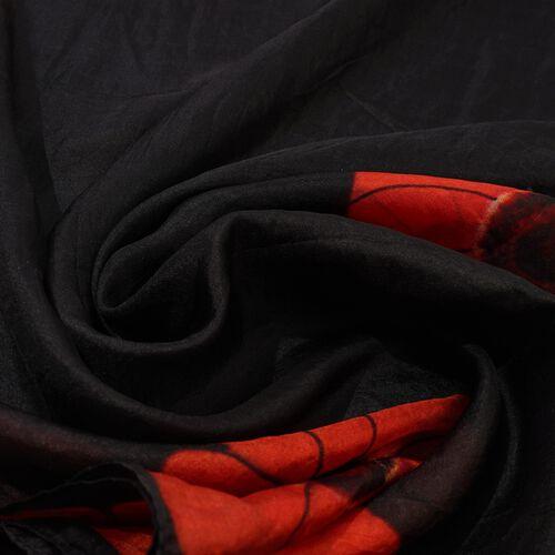 100% Mulberry Silk Poppy Print Scarf (180x50cm) - Black, Orange and Red