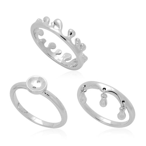 Set of 3 - LucyQ Button, Triple Drip and Ocean Ring in Rhodium Plated Sterling Silver 7.21 Gms.
