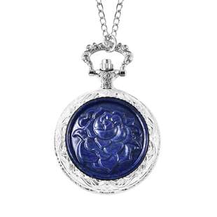 GENOA Japanese Movement Water Resistant Rose Carved Lapis Pocket Watch with Chain (Size 31) in Silve