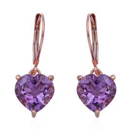 Rose De France Amethyst (Hrt) Lever Back Earrings in Rose Gold Overlay Sterling Silver 5.78 Ct.