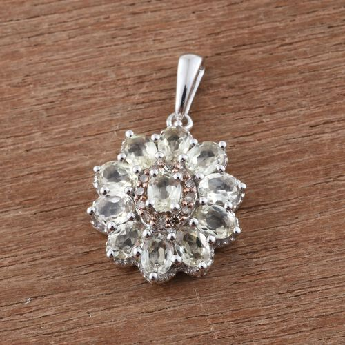 Natural Turkizite (Ovl), Natural Champagne Diamond Pendant in Platinum Overlay Sterling Silver 2.000 Ct.