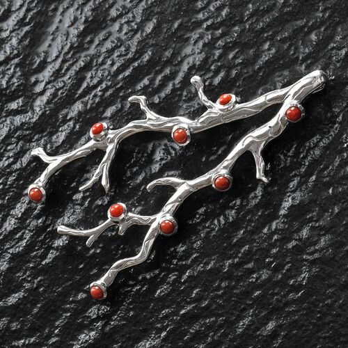 Sundays Child - Coral Pendant in Platinum Overlay Sterling Silver, Silver wt. 16.60 Gms
