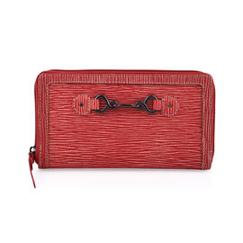 100% Genuine Leather - RFID Full Zip Secure Cherry Colour Wallet (19  X 2.5  X 11 cm)
