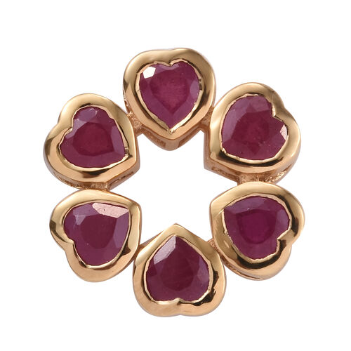 3.75 Ct African Ruby Heart Pendant in Gold Plated Sterling Silver