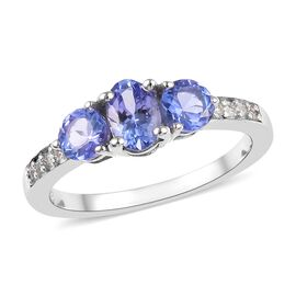 Tanzanite and Zircon Trilogy Ring in Platinum Plated Sterling Silver 1.15 Ct.