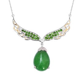 20.75 Ct Green Jade and Multi Gemstone Angle Wing Necklace in Platinum Plated Silver 13.65 Grams