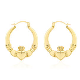 9K Yellow Gold Claddagh Creole Earrings (with Clasp)
