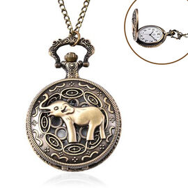 STRADA Japanese Movement Elephant Pattern Pocket Watch with Chain (Size 31) in Antique Bronze Tone