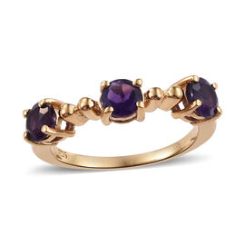 Amethyst (Rnd) Ring in 14K Gold Overlay Sterling Silver 0.850 Ct.