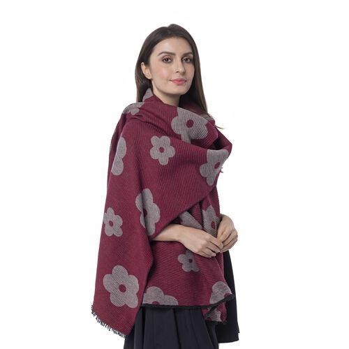 Designer Inspired-Red and Grey Colour Plum Blossom Flower Pattern Scarf (Size 200x65)