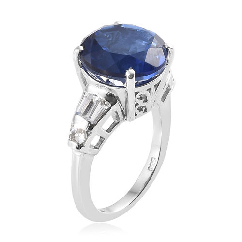 Ceylon Colour Quartz (Rnd 7.150 Ct), White Topaz Ring in Platinum Overlay Sterling Silver 7.750  Ct